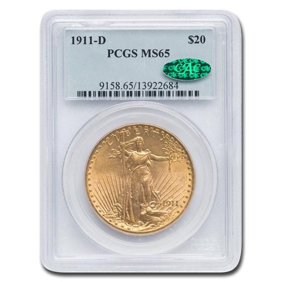 1911-D $20 Saint-Gaudens Gold Double Eagle MS-65 PCGS CAC