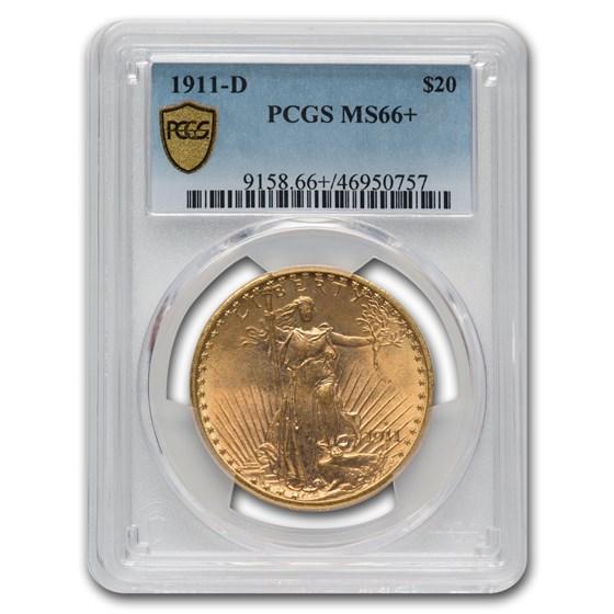 1911-D $20 Saint-Gaudens Gold Double Eagle MS-66+ PCGS