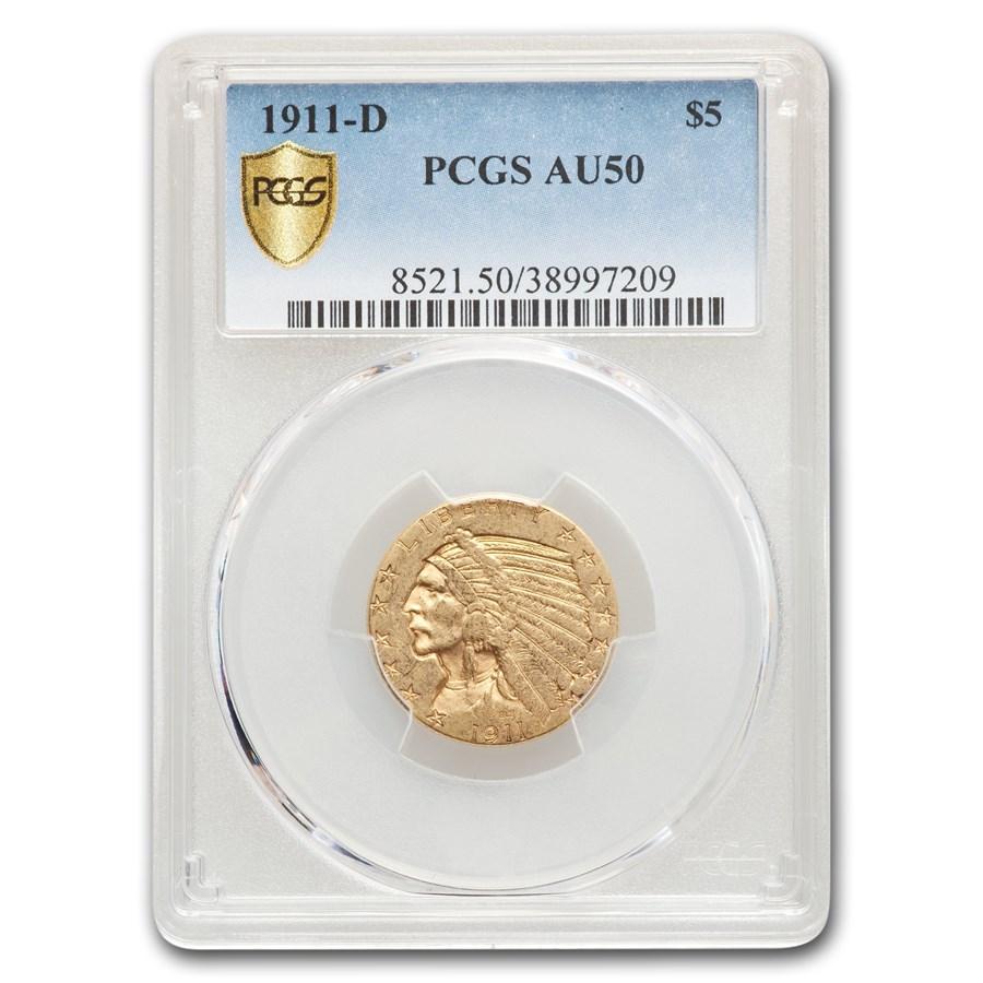 1911-D $5 Indian Gold Half Eagle AU-50 PCGS