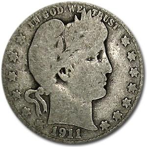 1911-D Barber Quarter AG