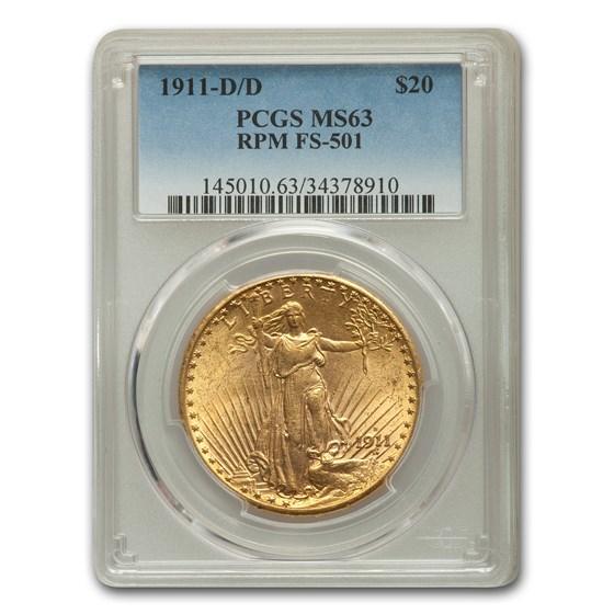 1911-D/D $20 Saint-Gaudens Gold Double Eagle MS-63 PCGS (FS-501)
