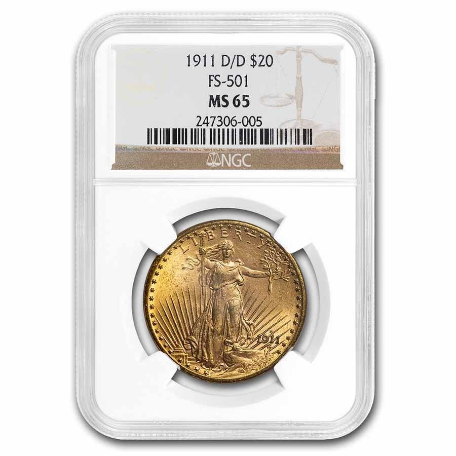 1911-D/D $20 Saint-Gaudens Gold Double Eagle MS-65 NGC (FS-501)