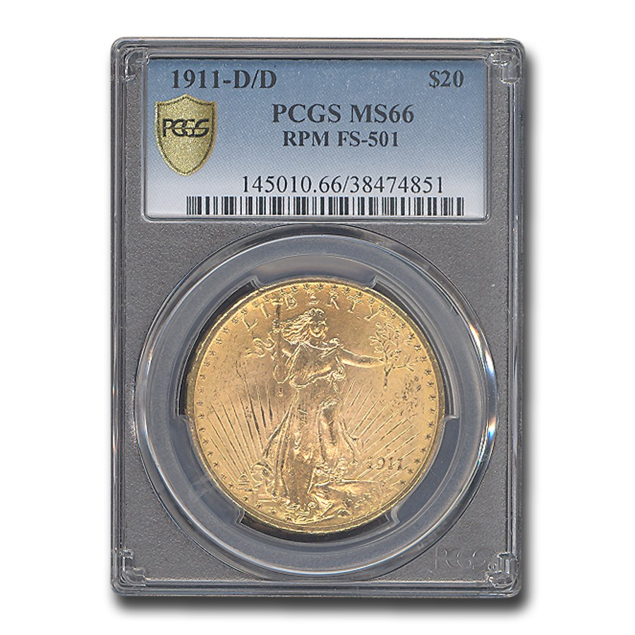 1911-D/D $20 Saint-Gaudens Gold Double Eagle MS-66 PCGS (FS-501)