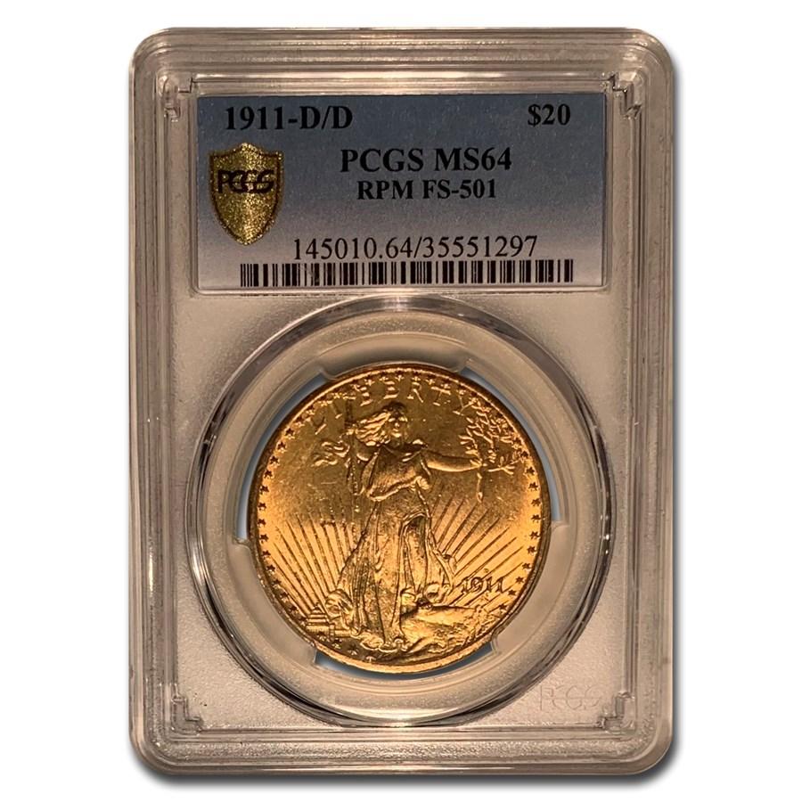 1911-D/D $20 Saint-Gaudens Gold MS-64 PCGS (FS-501)