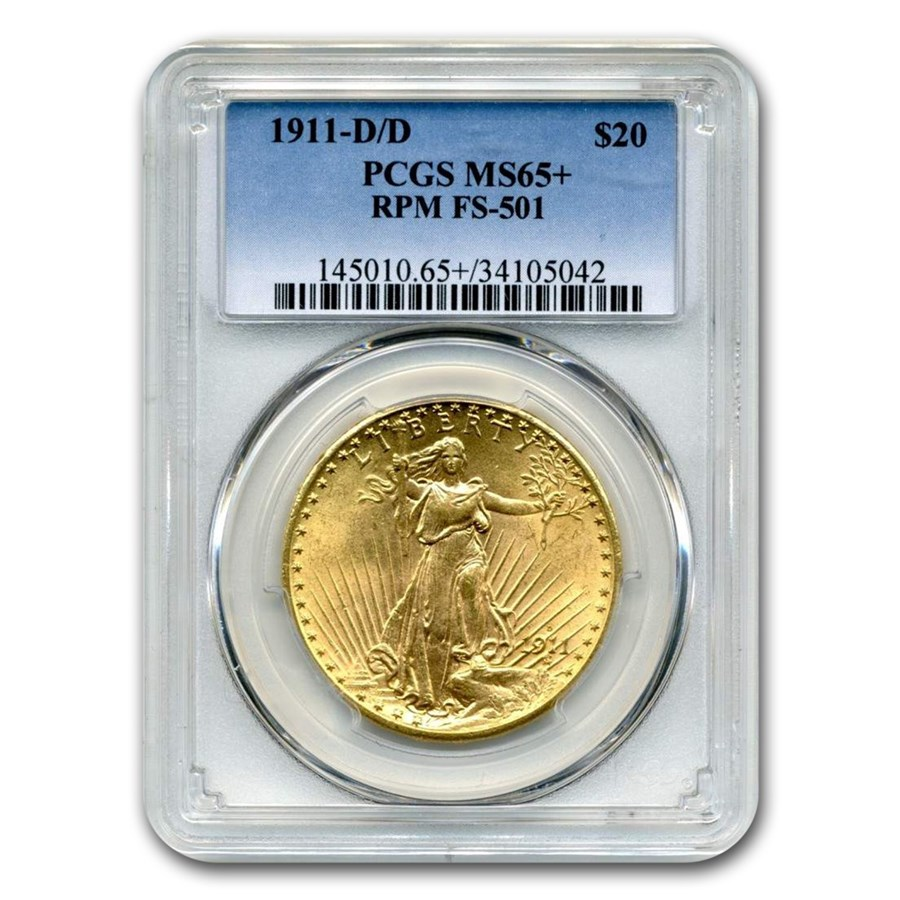 1911-D/D $20 Saint-Gaudens Gold MS-65+ PCGS (RPM, FS-501)