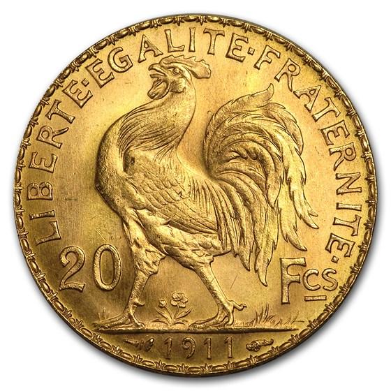 1911 France Gold 20 Francs Rooster BU