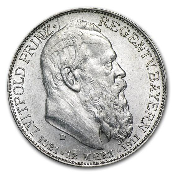 1911 Germany Silver 2 Mark Bavaria Luitpold Avg Circ