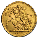 1911 Great Britain Gold Sovereign George V BU