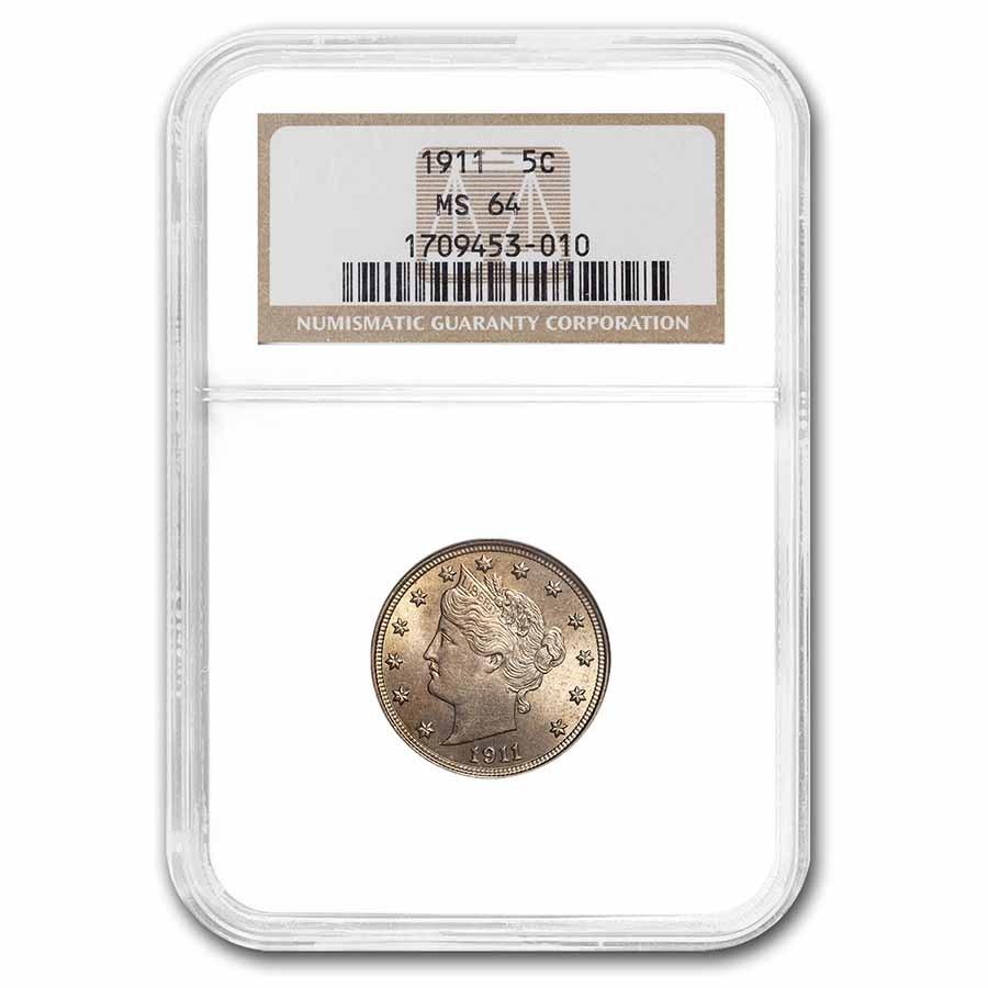 1911 Liberty Head V Nickel MS-64 NGC