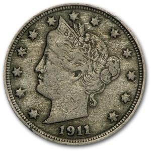 1911 Liberty Head V Nickel VF