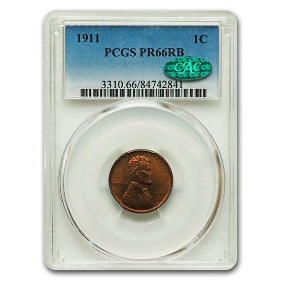 1911 Lincoln Cent PR-66 PCGS CAC (Red/Brown)