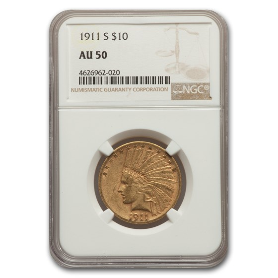 1911-S $10 Indian Gold Eagle AU-50 NGC