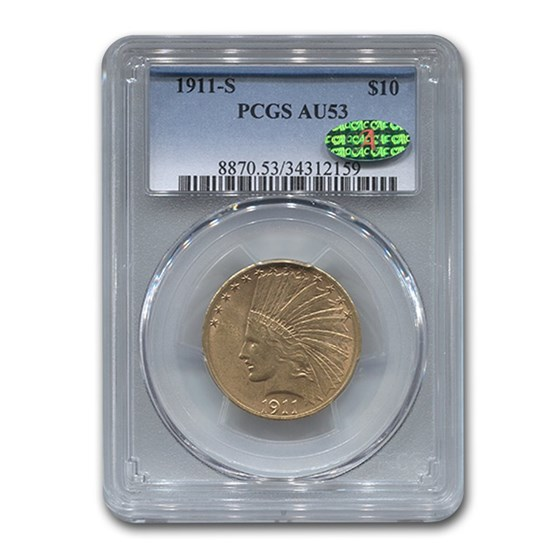 1911-S $10 Indian Gold Eagle AU-53 PCGS CAC