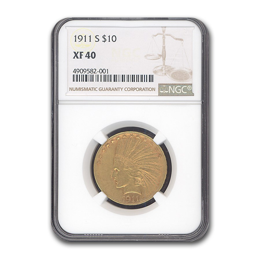 1911-S $10 Indian Gold Eagle XF-40 NGC