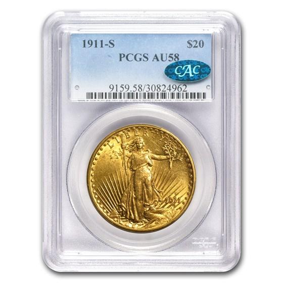 1911-S $20 Saint-Gaudens Gold Double Eagle AU-58 PCGS (CAC)