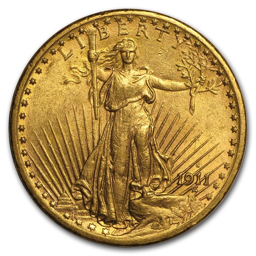 1911-S $20 Saint-Gaudens Gold Double Eagle AU
