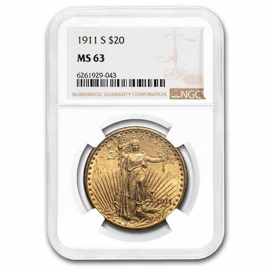1911-S $20 Saint-Gaudens Gold Double Eagle MS-63 NGC