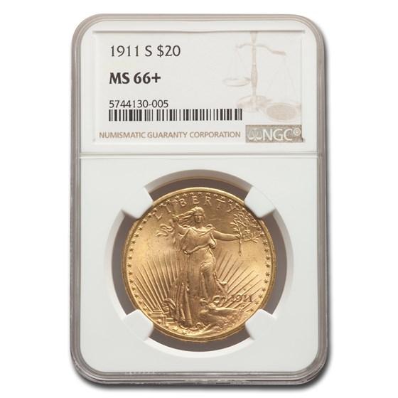 1911-S $20 Saint-Gaudens Gold Double Eagle MS-66+ NGC
