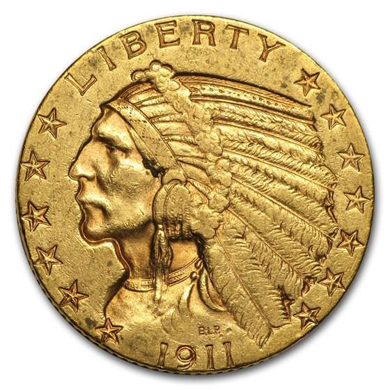 1911-S $5 Indian Gold Half Eagle AU