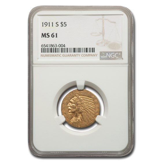 1911-S $5 Indian Gold Half Eagle MS-61 NGC