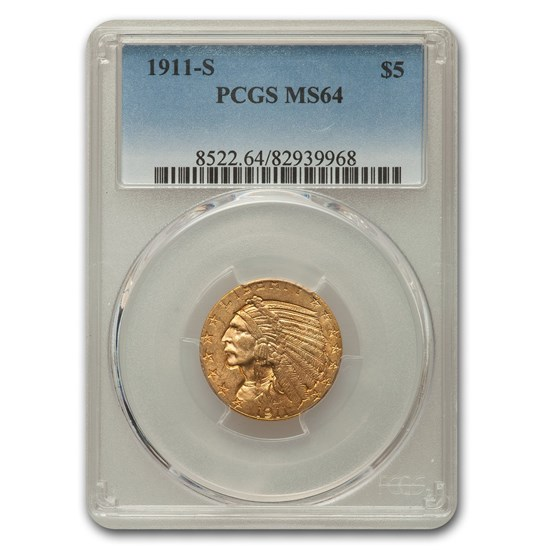 1911-S $5 Indian Gold Half Eagle MS-64 PCGS