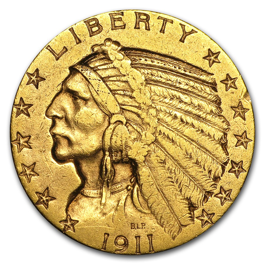 1911-S $5 Indian Gold Half Eagle XF