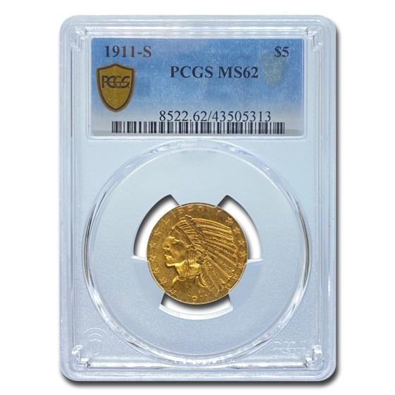 1911-S $5 Indian Gold Half EagleMS-62 PCGS