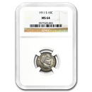 1911-S Barber Dime MS-64 NGC