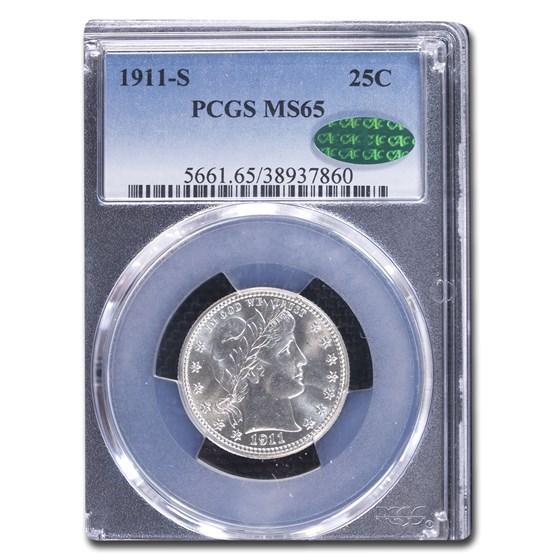 1911-S Barber Quarter MS-65 PCGS CAC