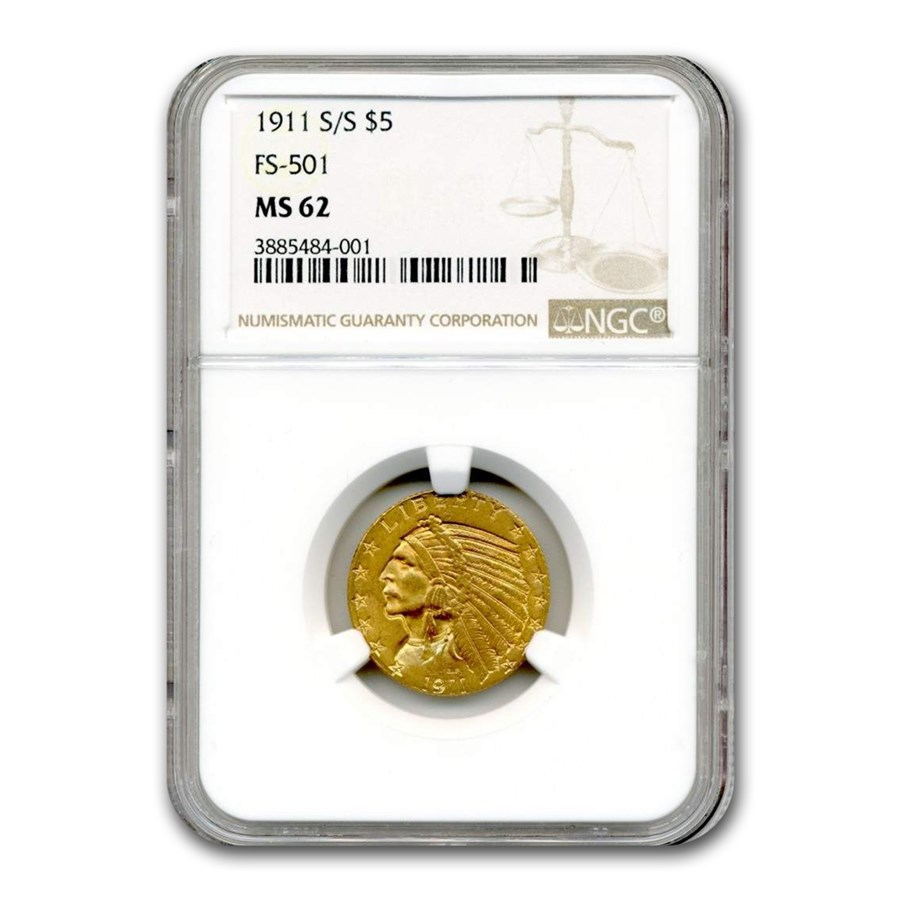 1911-S/S $5 Indian Gold Half Eagle MS-62 NGC (FS-501)