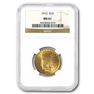 1912 $10 Indian Gold Eagle MS-61 NGC