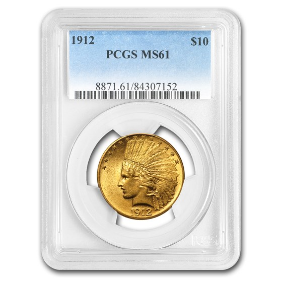 1912 $10 Indian Gold Eagle MS-61 PCGS