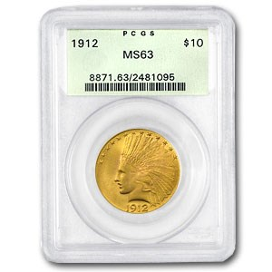 1912 $10 Indian Gold Eagle MS-63 PCGS (Old Green Holder)
