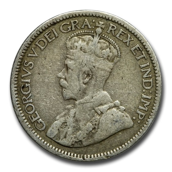 1912-1919 Canada Silver 10 Cents George V Avg Circ