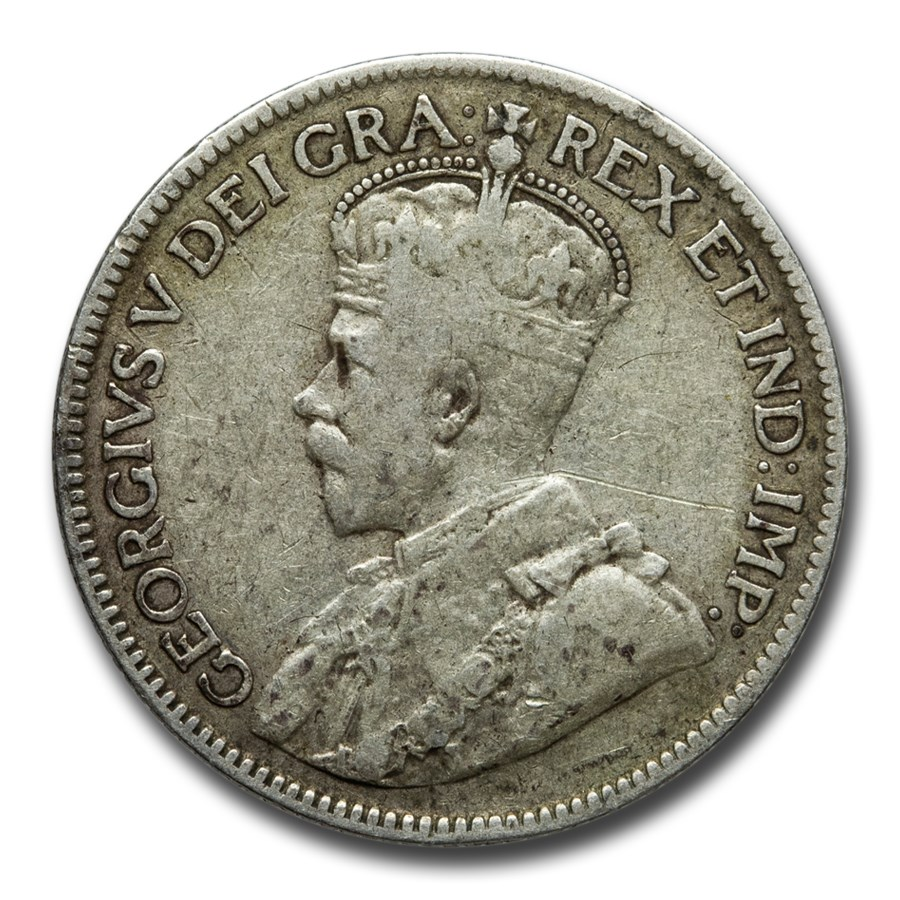 1912-1919 Canada Silver 25 Cents George V Avg Circ