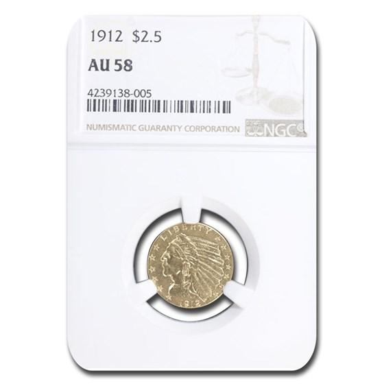 1912 $2.50 Indian Gold Quarter Eagle AU-58 NGC