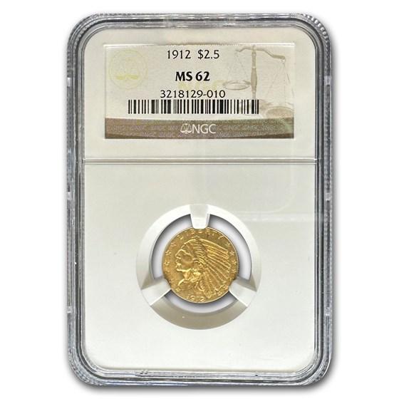 1912 $2.50 Indian Gold Quarter Eagle MS-62 NGC
