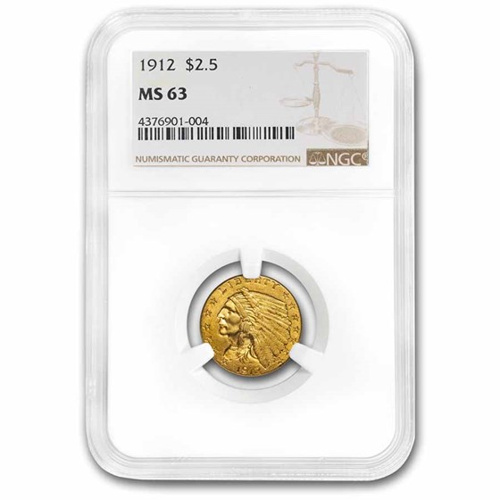 1912 $2.50 Indian Gold Quarter Eagle MS-63 NGC