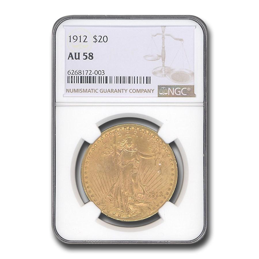 1912 $20 Saint-Gaudens Gold Double Eagle AU-58 NGC