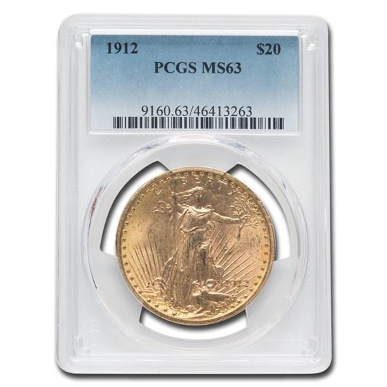 1912 $20 Saint-Gaudens Gold Double Eagle MS-63 PCGS