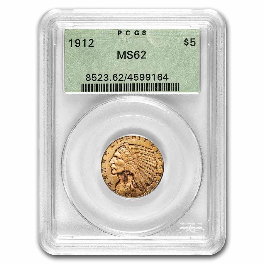 1912 $5.00 Indian Gold Half Eagle MS-62 PCGS (OGH)