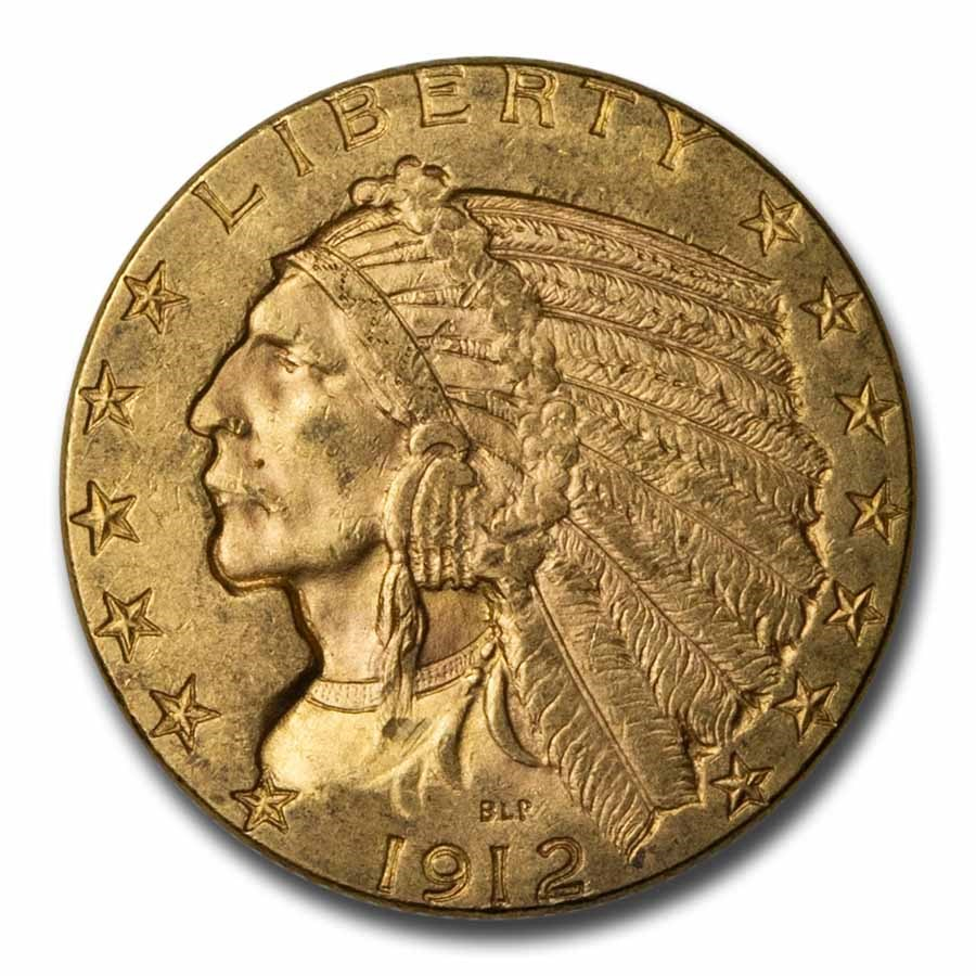 1912 $5 Indian Gold Half Eagle AU