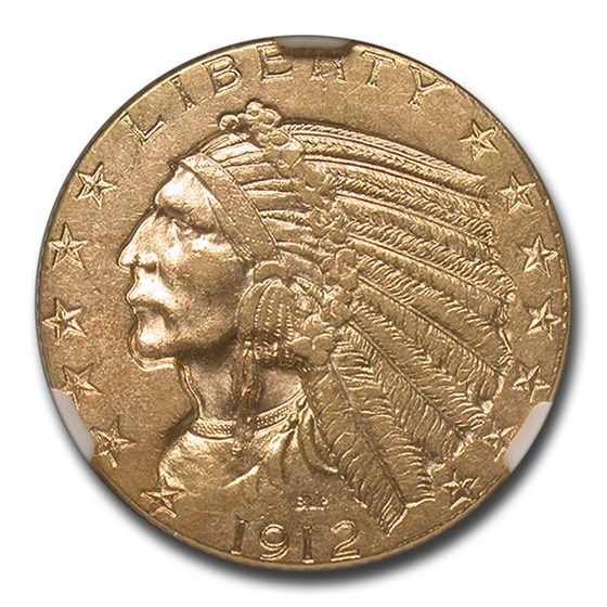 1912 $5 Indian Gold Half Eagle MS-60 NGC