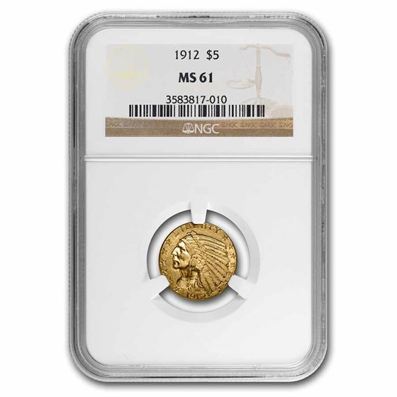 1912 $5 Indian Gold Half Eagle MS-61 NGC