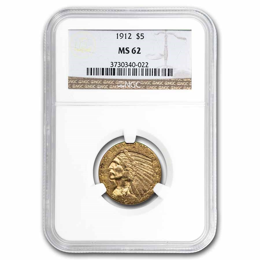 1912 $5 Indian Gold Half Eagle MS-62 NGC