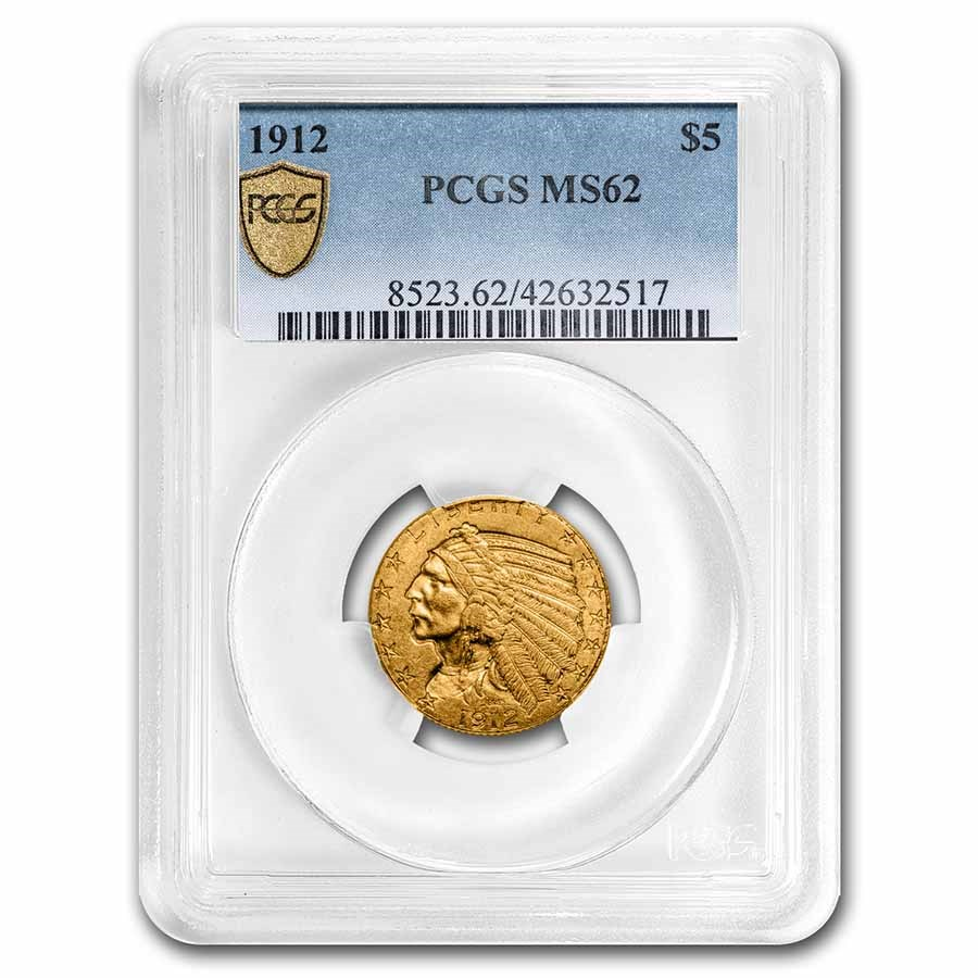 1912 $5 Indian Gold Half Eagle MS-62 PCGS