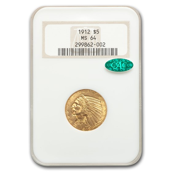 1912 $5 Indian Gold Half Eagle MS-64 NGC CAC