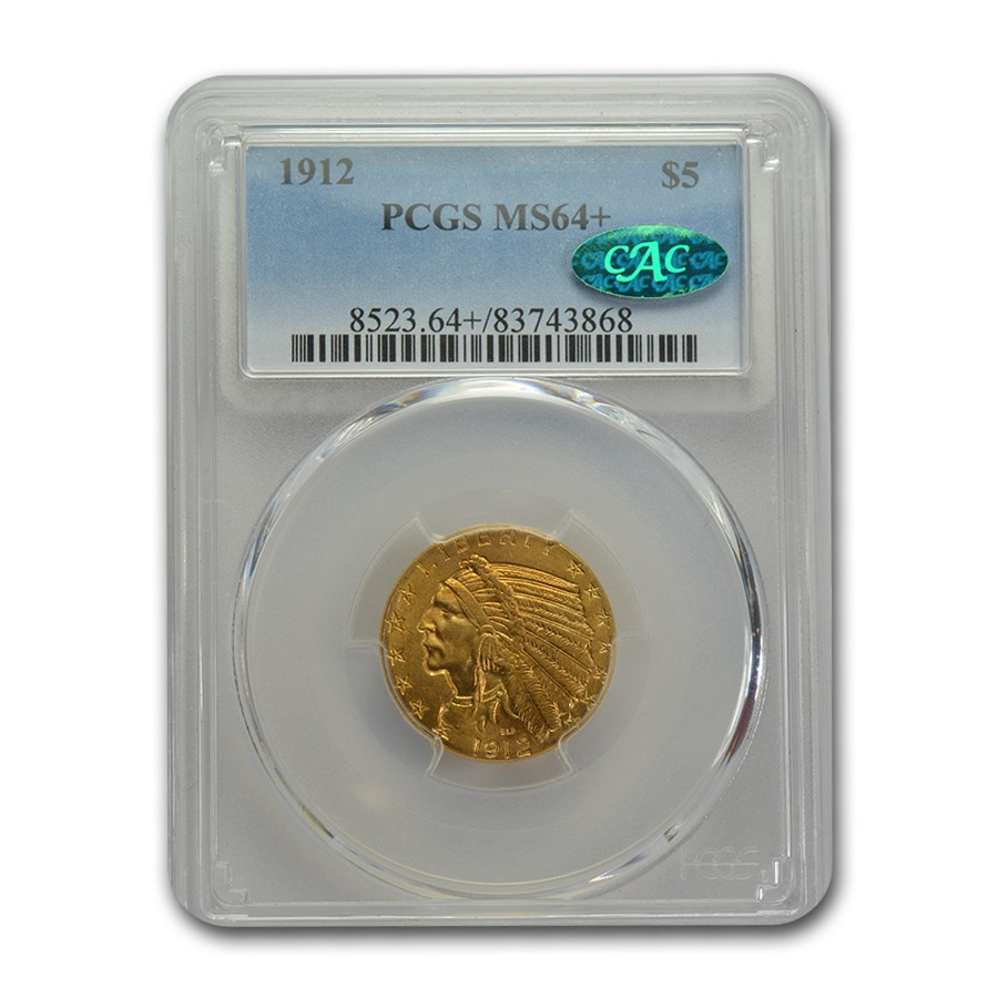 1912 $5 Indian Gold Half Eagle MS-64+ PCGS CAC