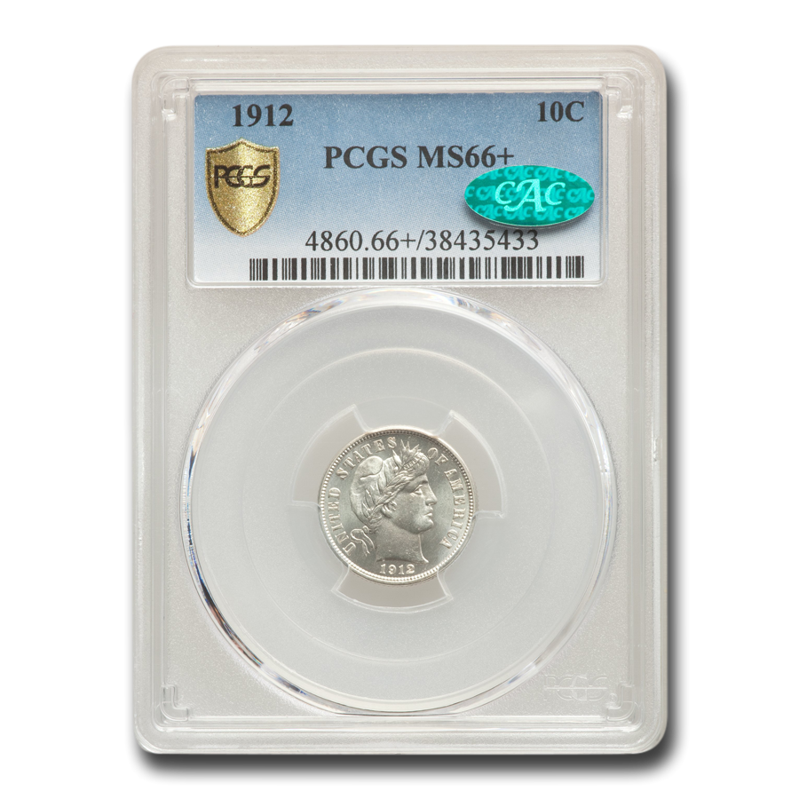 1912 Barber Dime MS-66+ PCGS CAC