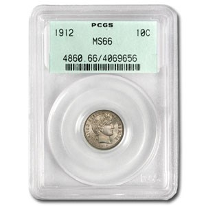 1912 Barber Dime MS-66 PCGS (Old Green Label)